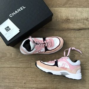 Chanel pink/black sneakers